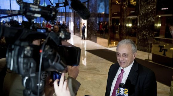 Carl Paladino speaks to members of the media at Trump Tower, Monday, Dec. 5, 2016, in New York.
